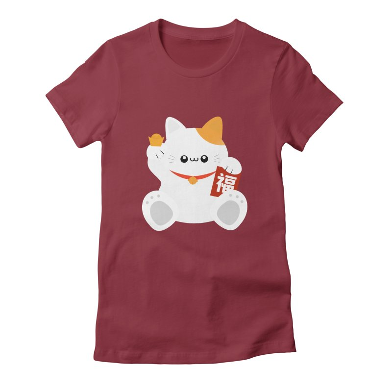 Fortune Cat Women's Fitted T-Shirt by theladyernestember's Artist Shop