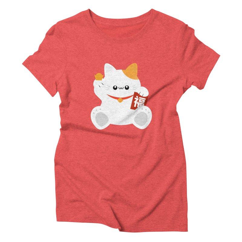 Fortune Cat Women's Triblend T-Shirt by theladyernestember's Artist Shop