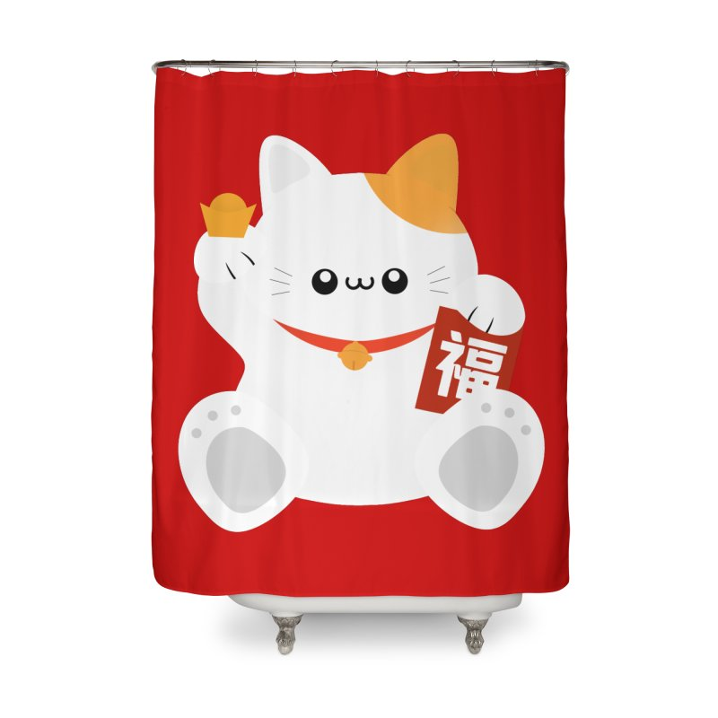 Fortune Cat Home Shower Curtain by theladyernestember's Artist Shop