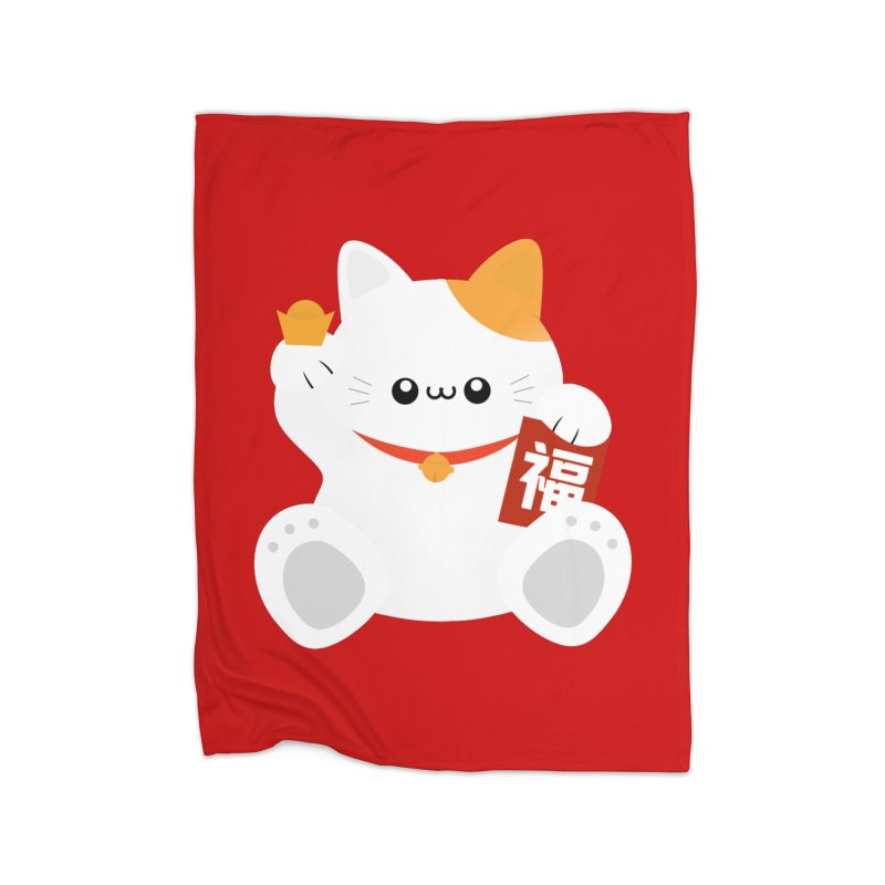 Fortune Cat Home Fleece Blanket Blanket by theladyernestember's Artist Shop
