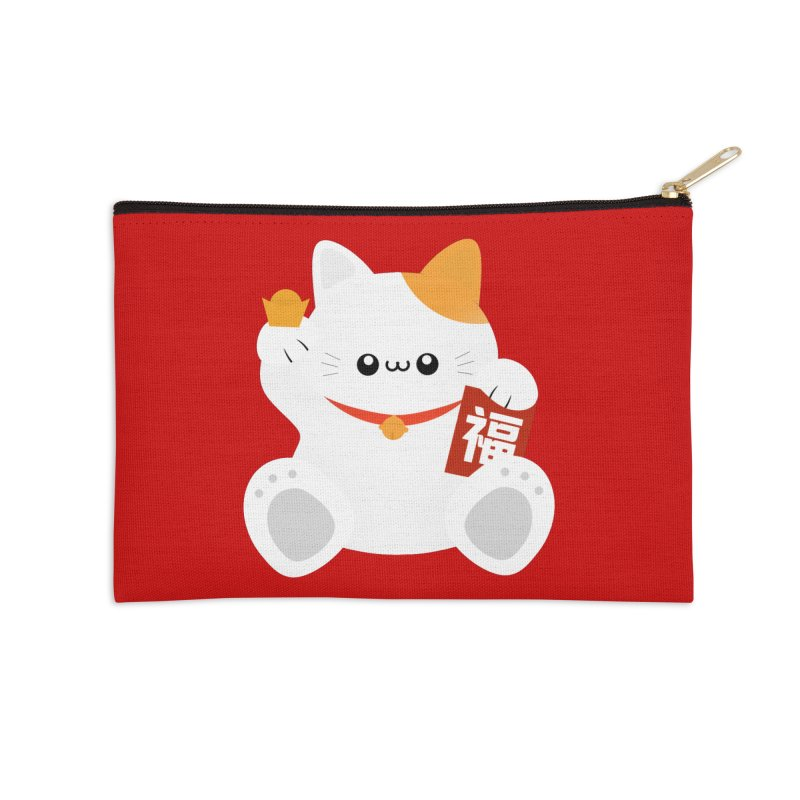 Fortune Cat Accessories Zip Pouch by theladyernestember's Artist Shop