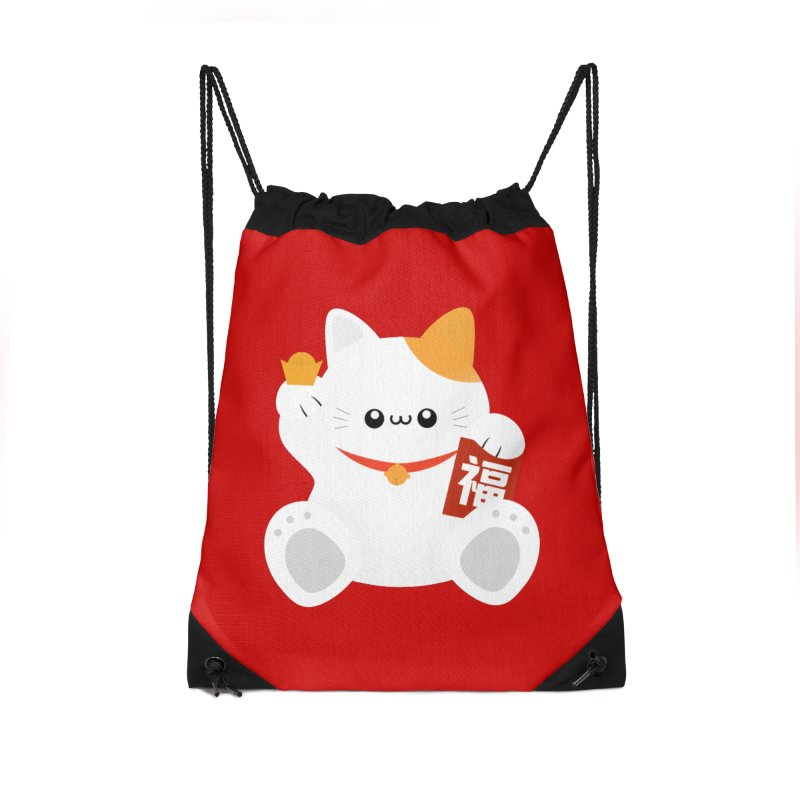 Fortune Cat Accessories Drawstring Bag Bag by theladyernestember's Artist Shop