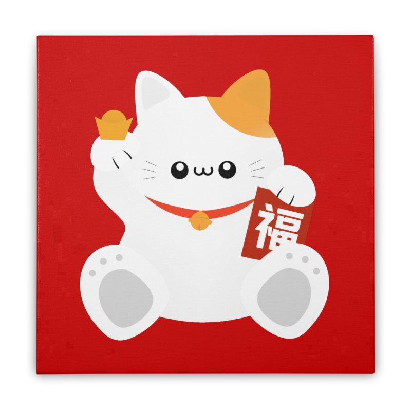 Fortune Cat Home Stretched Canvas by theladyernestember's Artist Shop