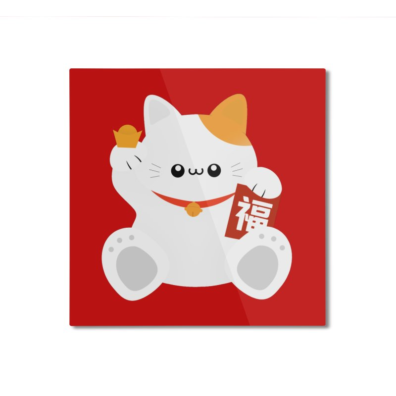 Fortune Cat Home Mounted Aluminum Print by theladyernestember's Artist Shop