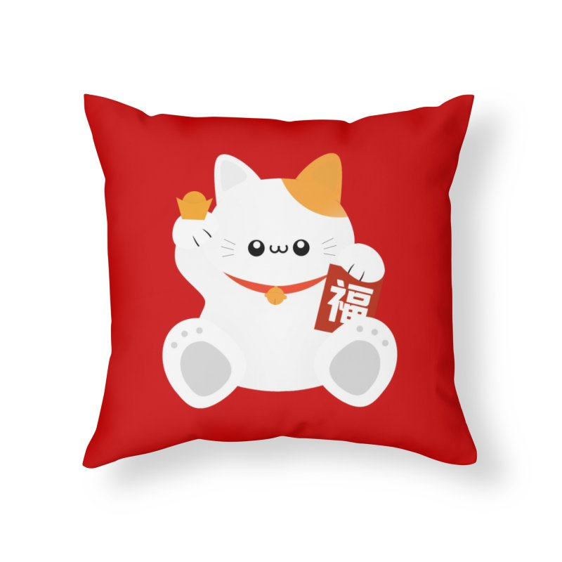 Fortune Cat Home Throw Pillow by theladyernestember's Artist Shop