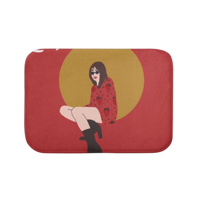 THE LADY - STRAWBERRY Home Bath Mat by theladyernestember's Artist Shop