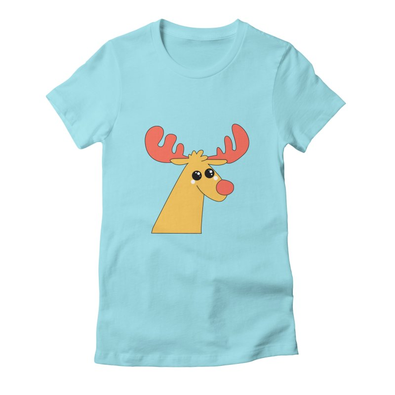 Christmas Moose Women's Fitted T-Shirt by theladyernestember's Artist Shop