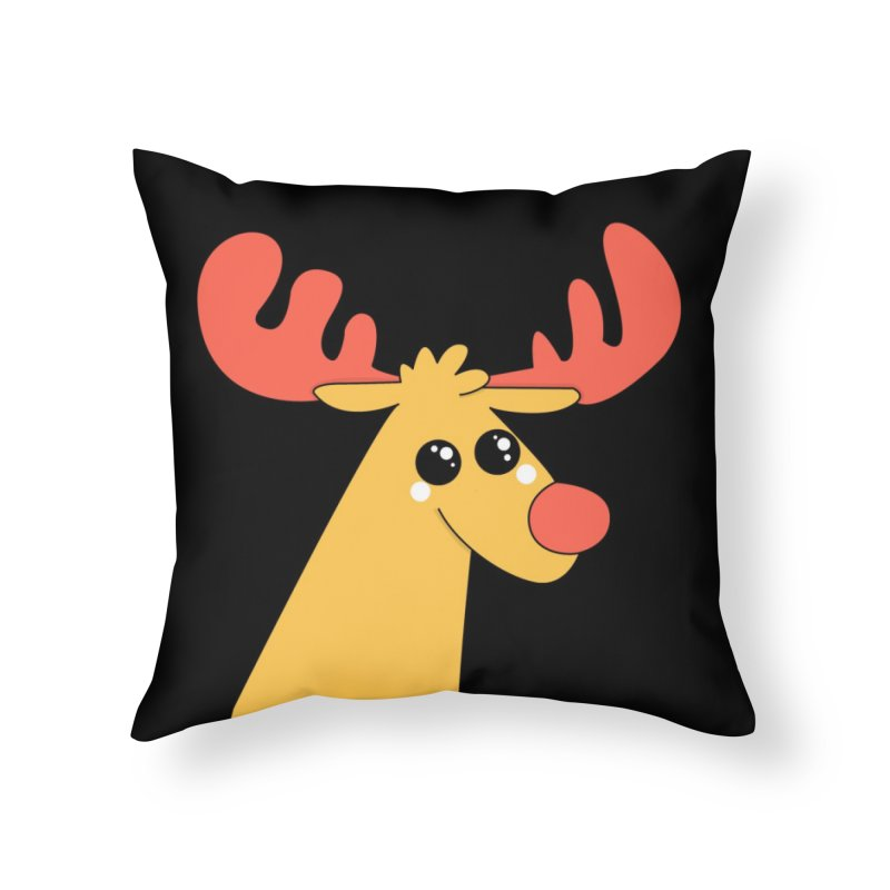 Christmas Moose Home Throw Pillow by theladyernestember's Artist Shop