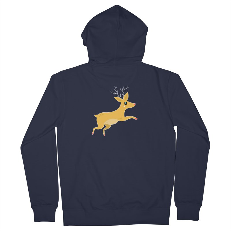Christmas Reindeer Women's French Terry Zip-Up Hoody by theladyernestember's Artist Shop