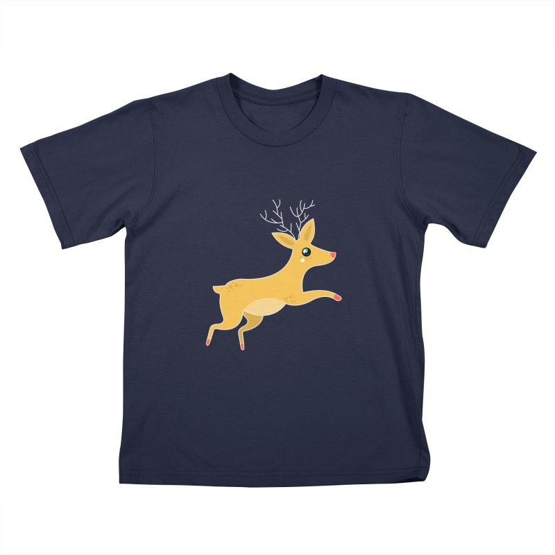 Christmas Reindeer Kids T-Shirt by theladyernestember's Artist Shop