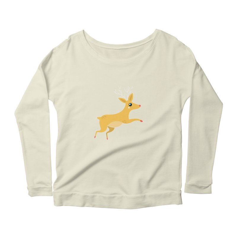 Christmas Reindeer Women's Scoop Neck Longsleeve T-Shirt by theladyernestember's Artist Shop