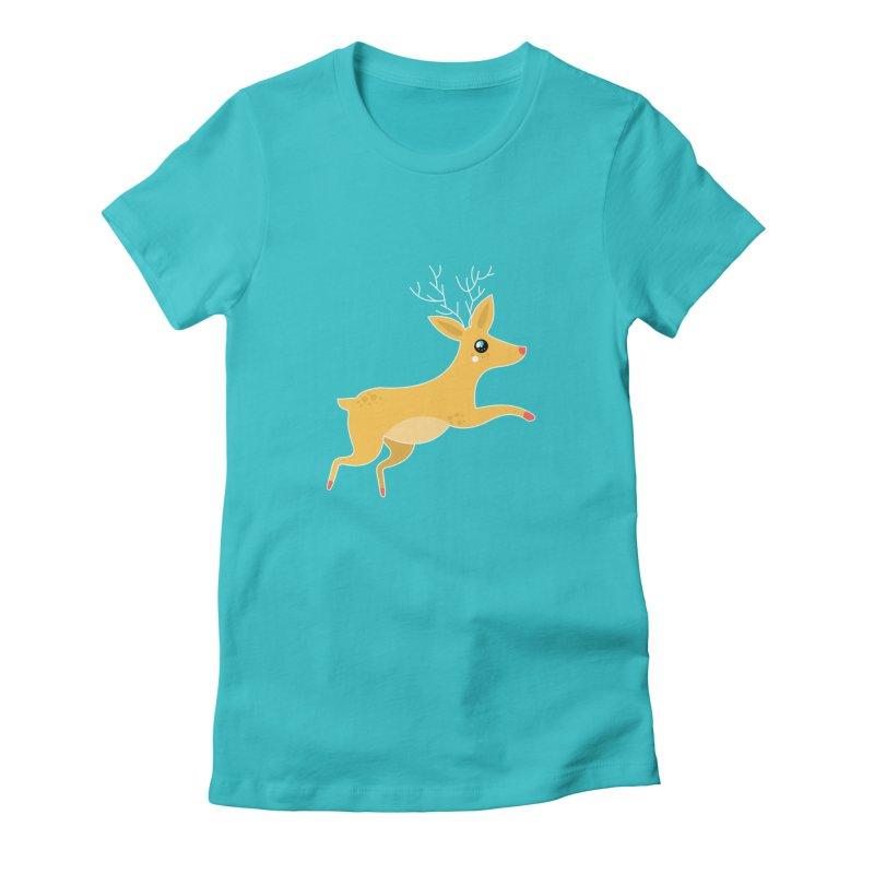 Christmas Reindeer Women's Fitted T-Shirt by theladyernestember's Artist Shop