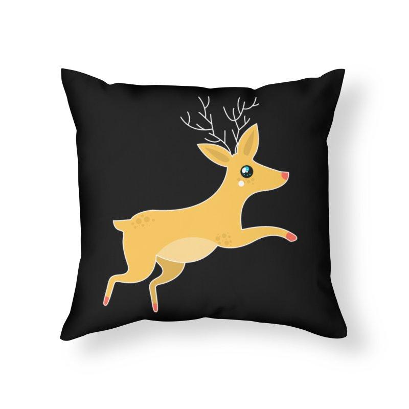 Christmas Reindeer Home Throw Pillow by theladyernestember's Artist Shop