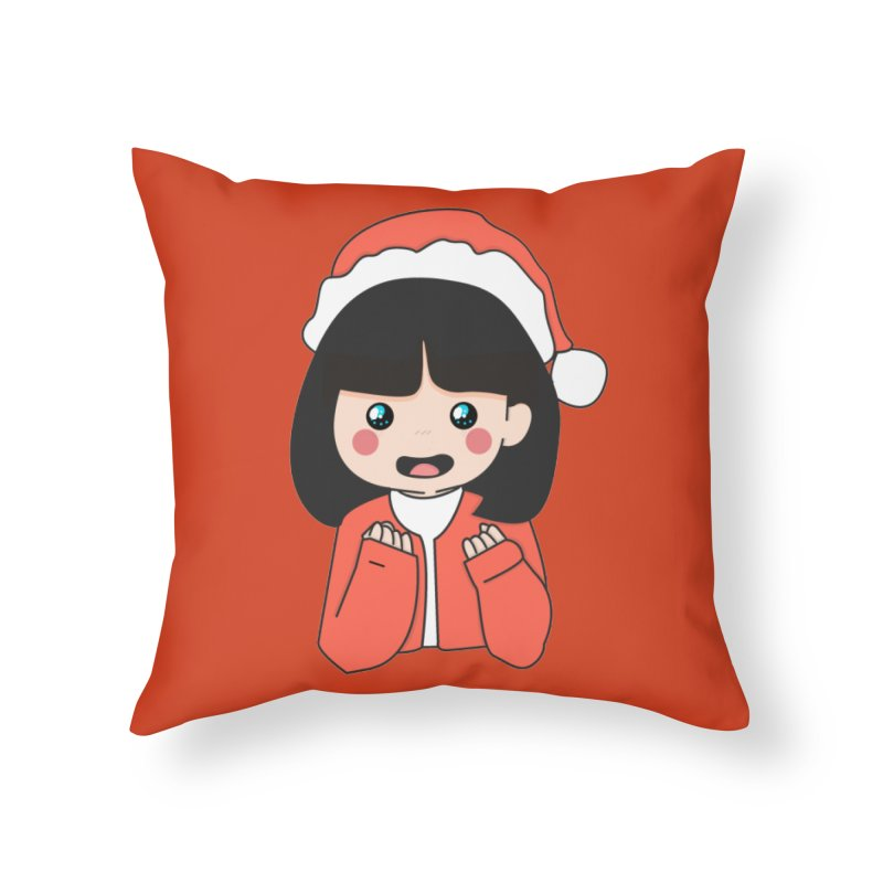 Christmas Girl Home Throw Pillow by theladyernestember's Artist Shop