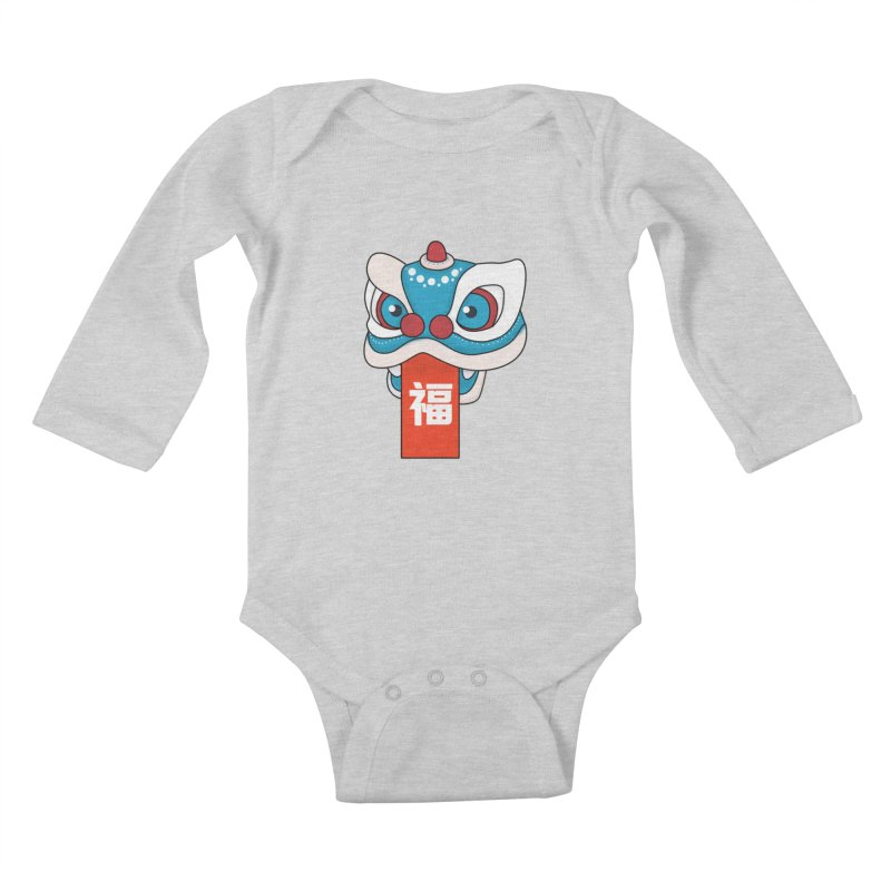 Happy Chinese New Year - Lion Dance Kids Baby Longsleeve Bodysuit by theladyernestember's Artist Shop