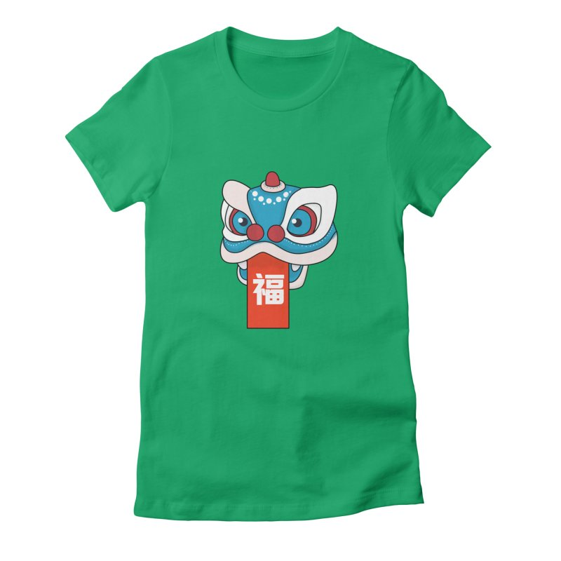 Happy Chinese New Year - Lion Dance Women's Fitted T-Shirt by theladyernestember's Artist Shop