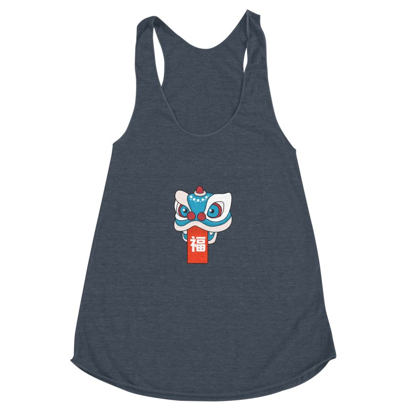 Happy Chinese New Year - Lion Dance Women's Racerback Triblend Tank by theladyernestember's Artist Shop