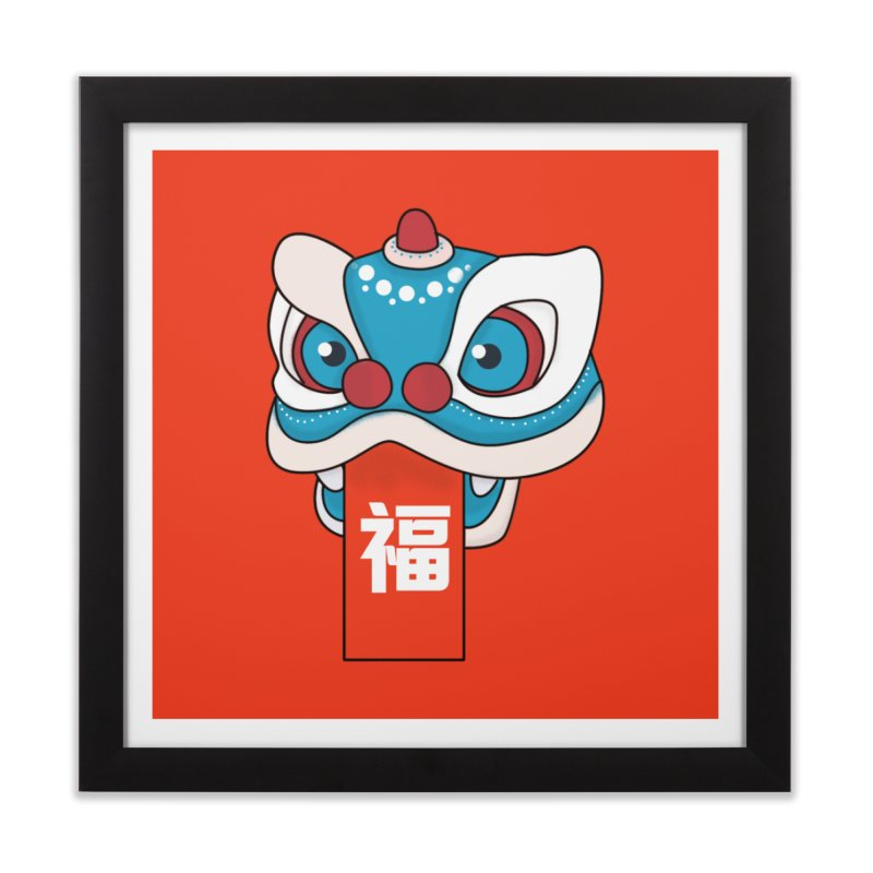 Happy Chinese New Year - Lion Dance Home Framed Fine Art Print by theladyernestember's Artist Shop