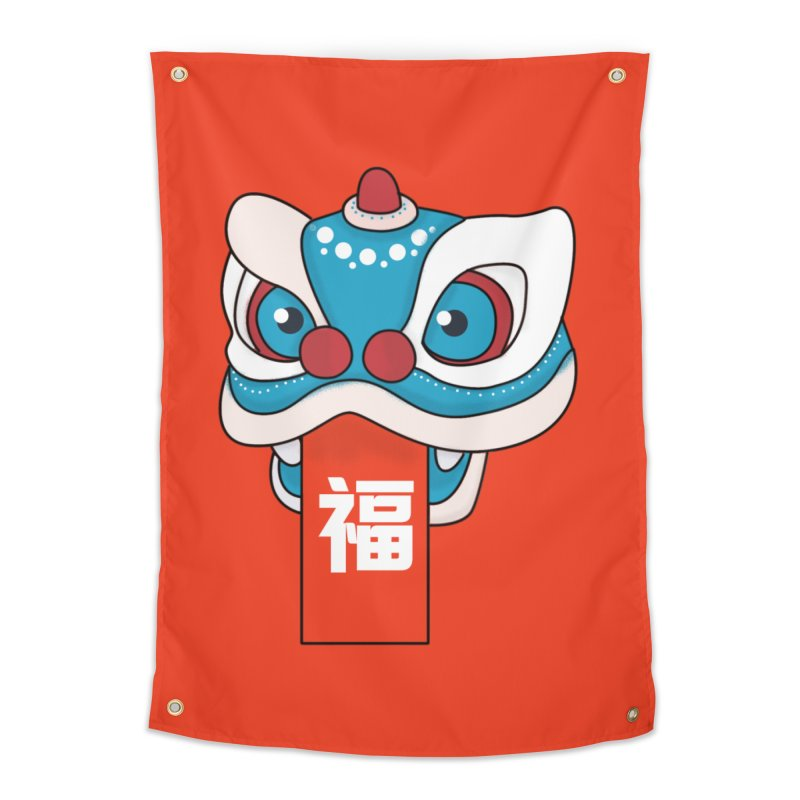Happy Chinese New Year - Lion Dance Home Tapestry by theladyernestember's Artist Shop