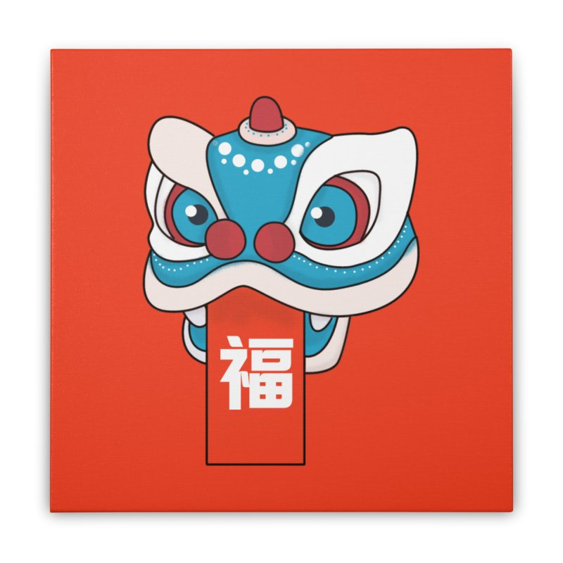 Happy Chinese New Year - Lion Dance Home Stretched Canvas by theladyernestember's Artist Shop