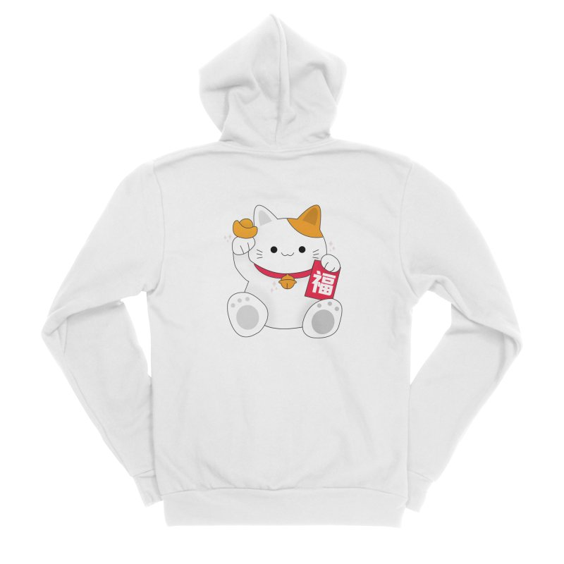 Happy Chinese New Year - Fortune Cat Men's Sponge Fleece Zip-Up Hoody by the lady ernest ember's Artist Shop