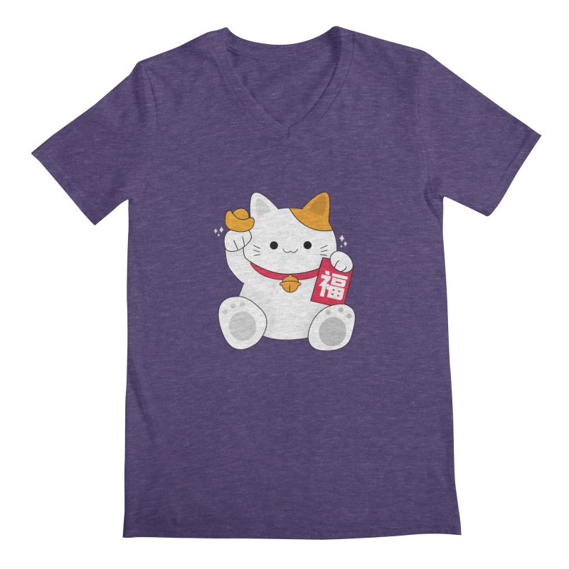 Happy Chinese New Year - Fortune Cat Men's Regular V-Neck by theladyernestember's Artist Shop
