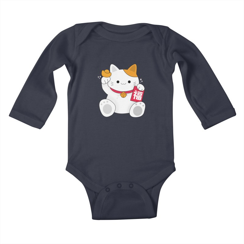 Happy Chinese New Year - Fortune Cat Kids Baby Longsleeve Bodysuit by theladyernestember's Artist Shop