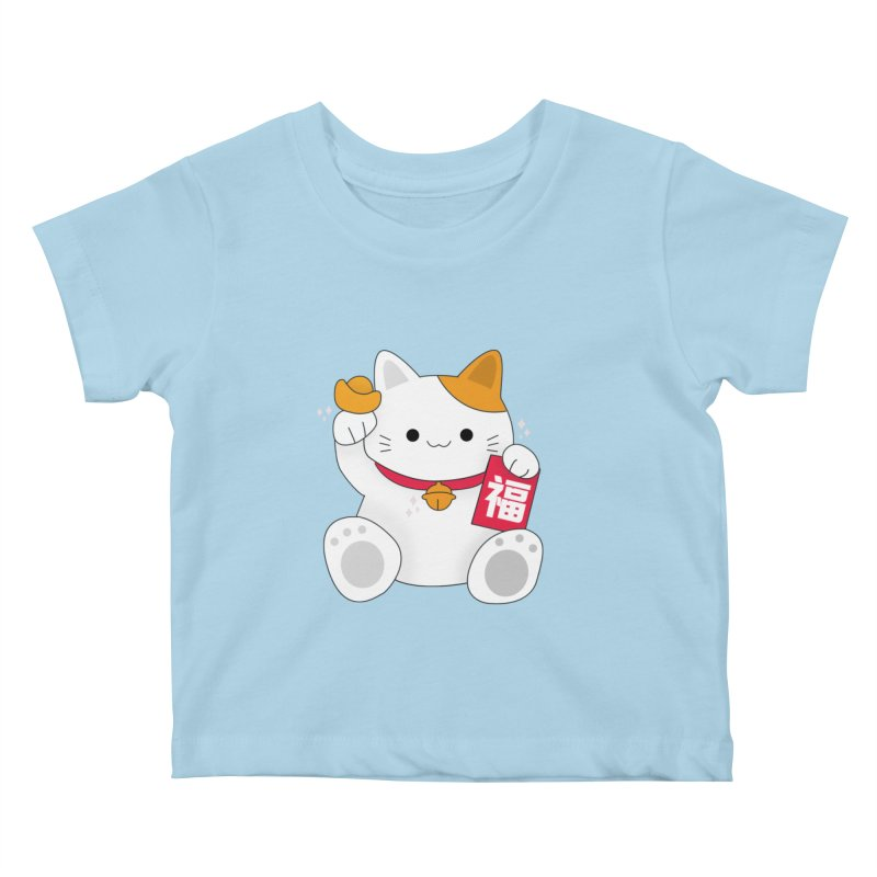 Happy Chinese New Year - Fortune Cat Kids Baby T-Shirt by the lady ernest ember's Artist Shop