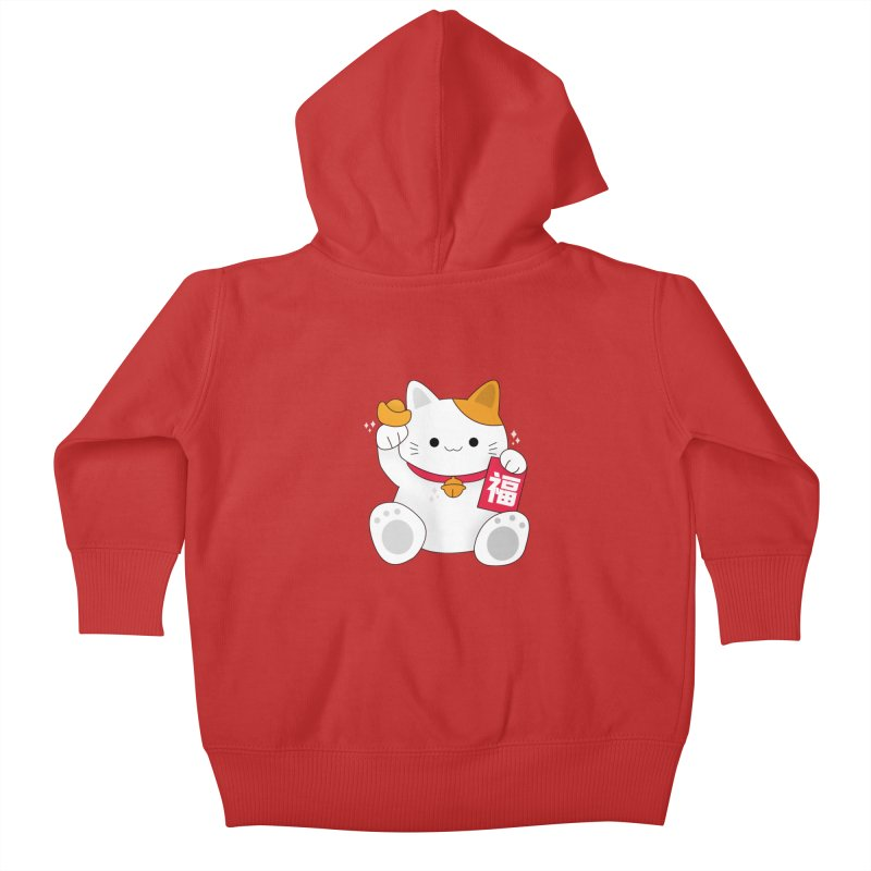 Happy Chinese New Year - Fortune Cat Kids Baby Zip-Up Hoody by the lady ernest ember's Artist Shop