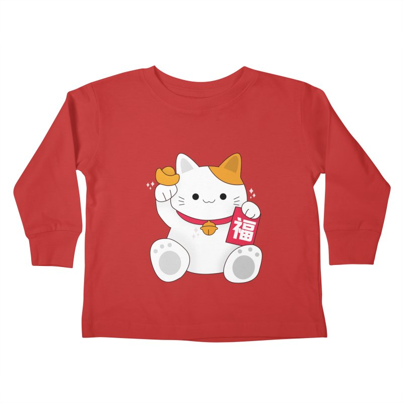 Happy Chinese New Year - Fortune Cat Kids Toddler Longsleeve T-Shirt by the lady ernest ember's Artist Shop