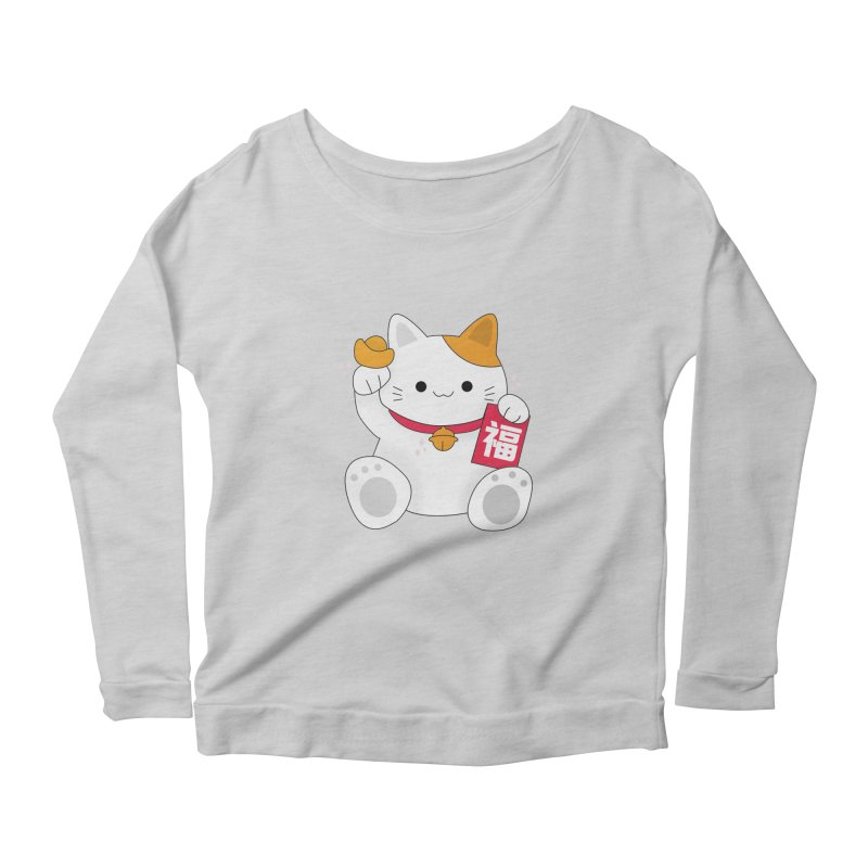 Happy Chinese New Year - Fortune Cat Women's Scoop Neck Longsleeve T-Shirt by the lady ernest ember's Artist Shop
