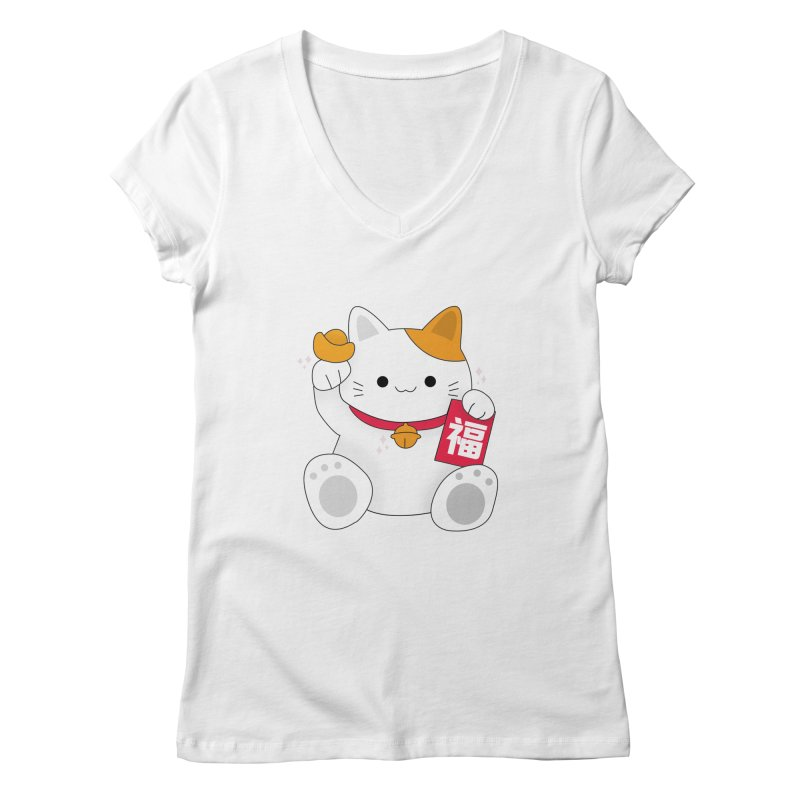 Happy Chinese New Year - Fortune Cat Women's Regular V-Neck by theladyernestember's Artist Shop