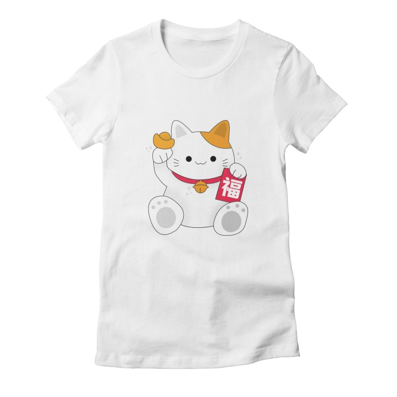 Happy Chinese New Year - Fortune Cat Women's Fitted T-Shirt by theladyernestember's Artist Shop