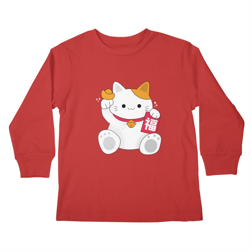 Happy Chinese New Year - Fortune Cat Kids Longsleeve T-Shirt by theladyernestember's Artist Shop