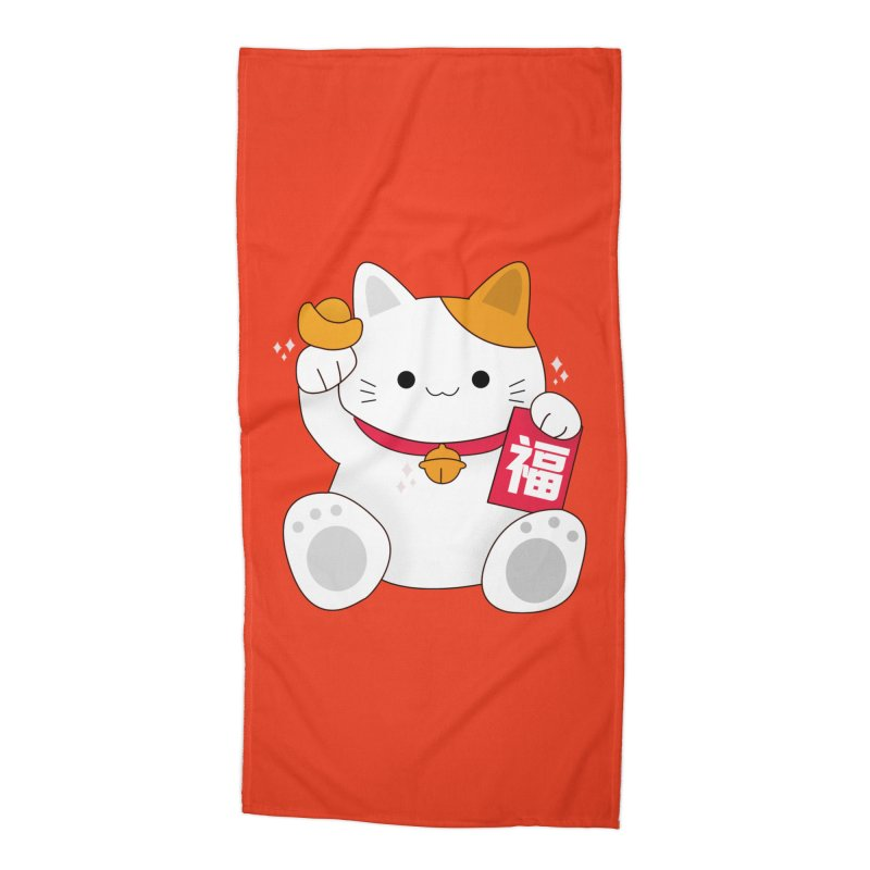 Happy Chinese New Year - Fortune Cat Accessories Beach Towel by theladyernestember's Artist Shop