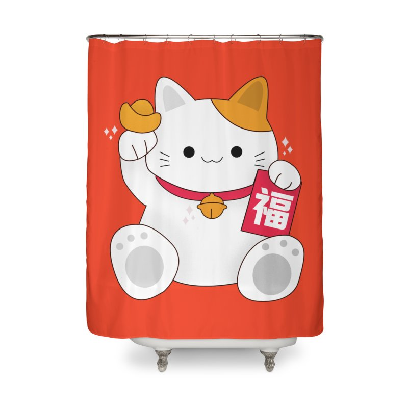 Happy Chinese New Year - Fortune Cat Home Shower Curtain by theladyernestember's Artist Shop