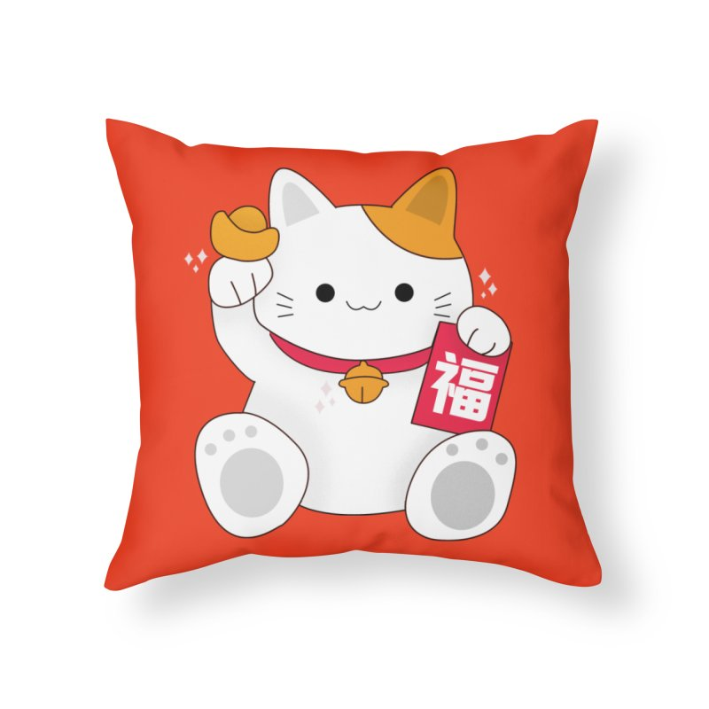 Happy Chinese New Year - Fortune Cat Home Throw Pillow by theladyernestember's Artist Shop