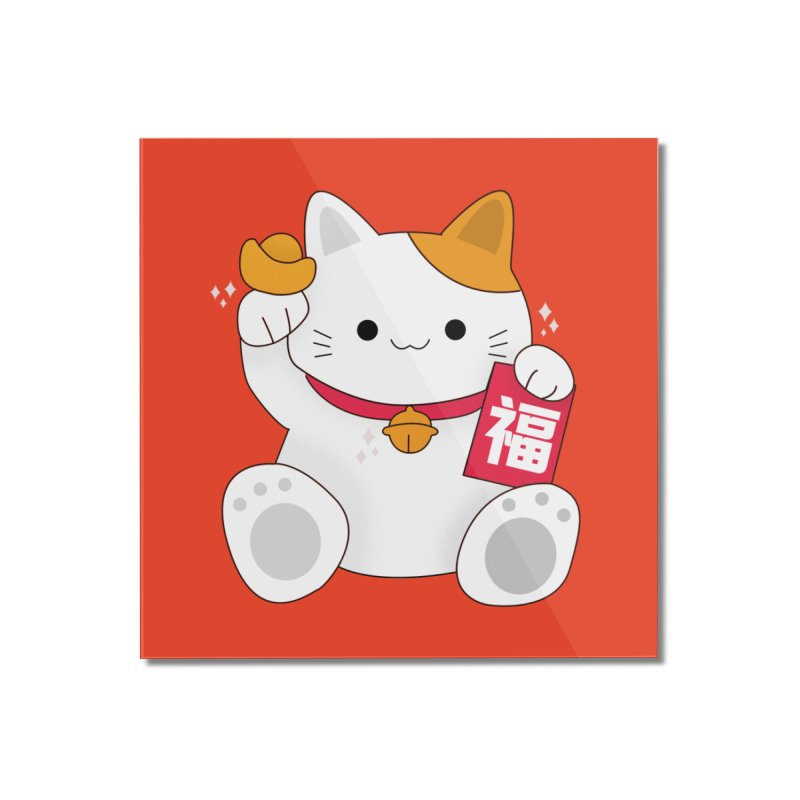 Happy Chinese New Year - Fortune Cat Home Mounted Acrylic Print by the lady ernest ember's Artist Shop