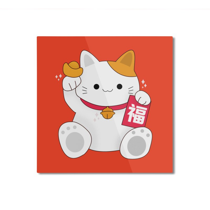 Happy Chinese New Year - Fortune Cat Home Mounted Aluminum Print by the lady ernest ember's Artist Shop