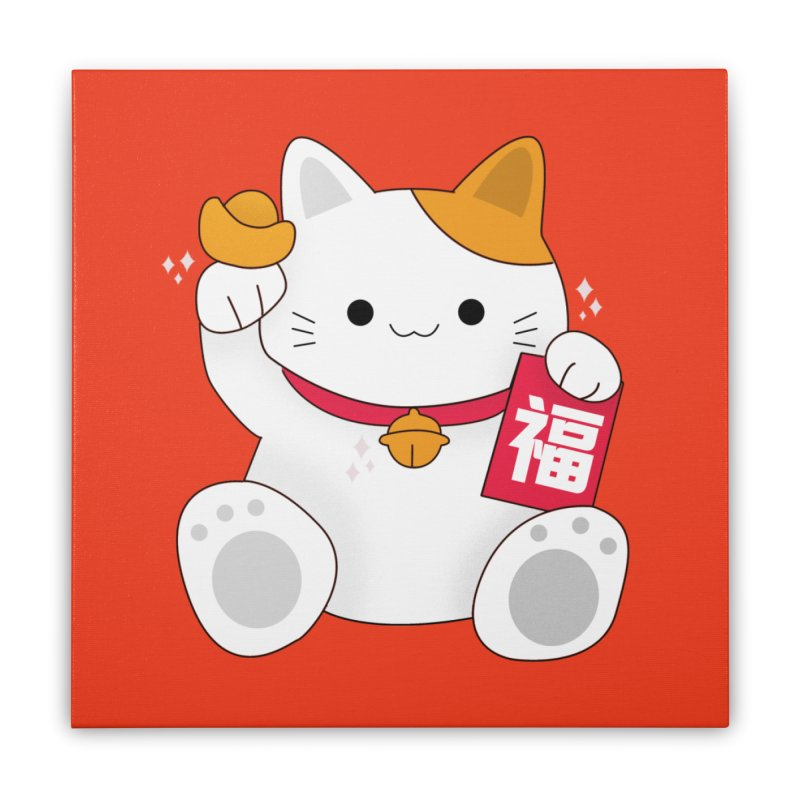 Happy Chinese New Year - Fortune Cat Home Stretched Canvas by theladyernestember's Artist Shop
