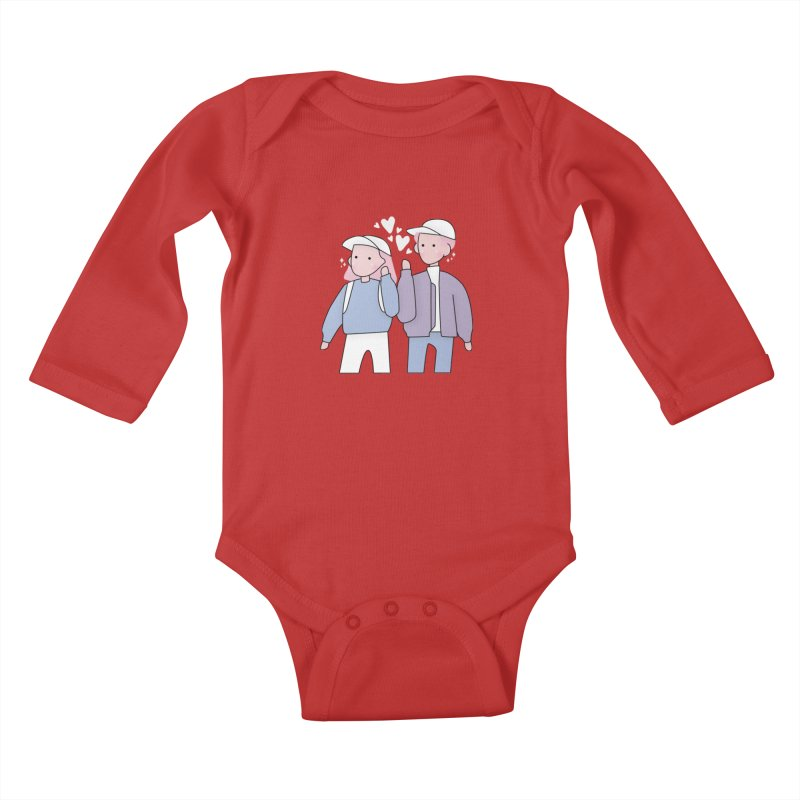 Happy Valentine's Day Kids Baby Longsleeve Bodysuit by the lady ernest ember's Artist Shop