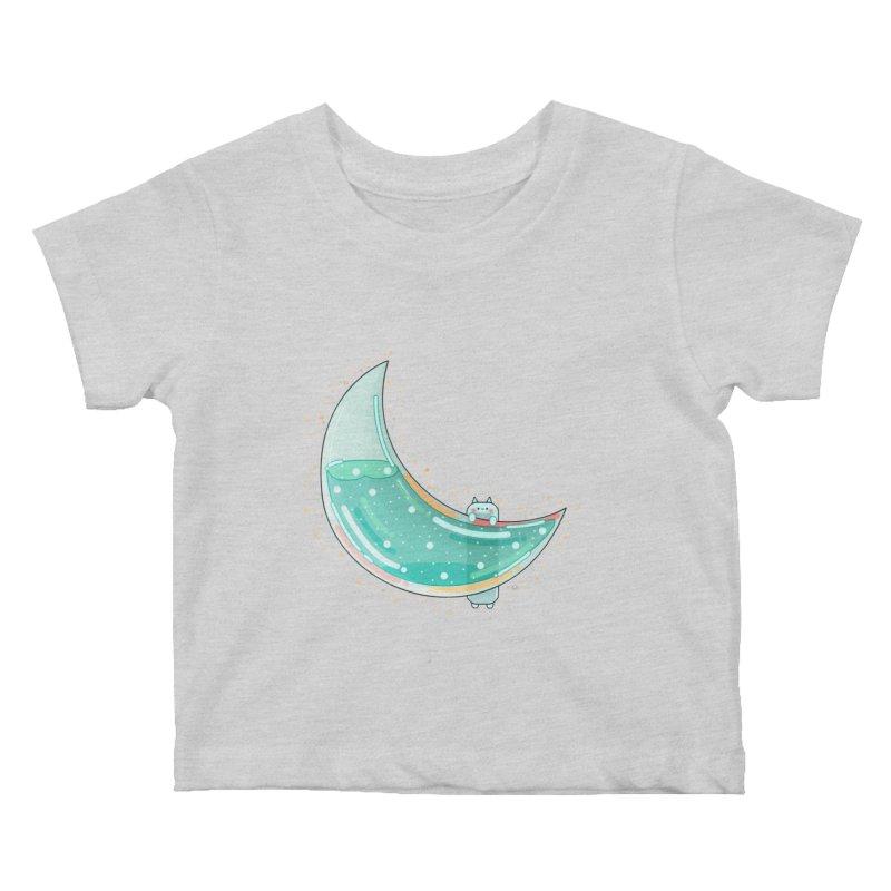 Cat Moon Kids Baby T-Shirt by theladyernestember's Artist Shop