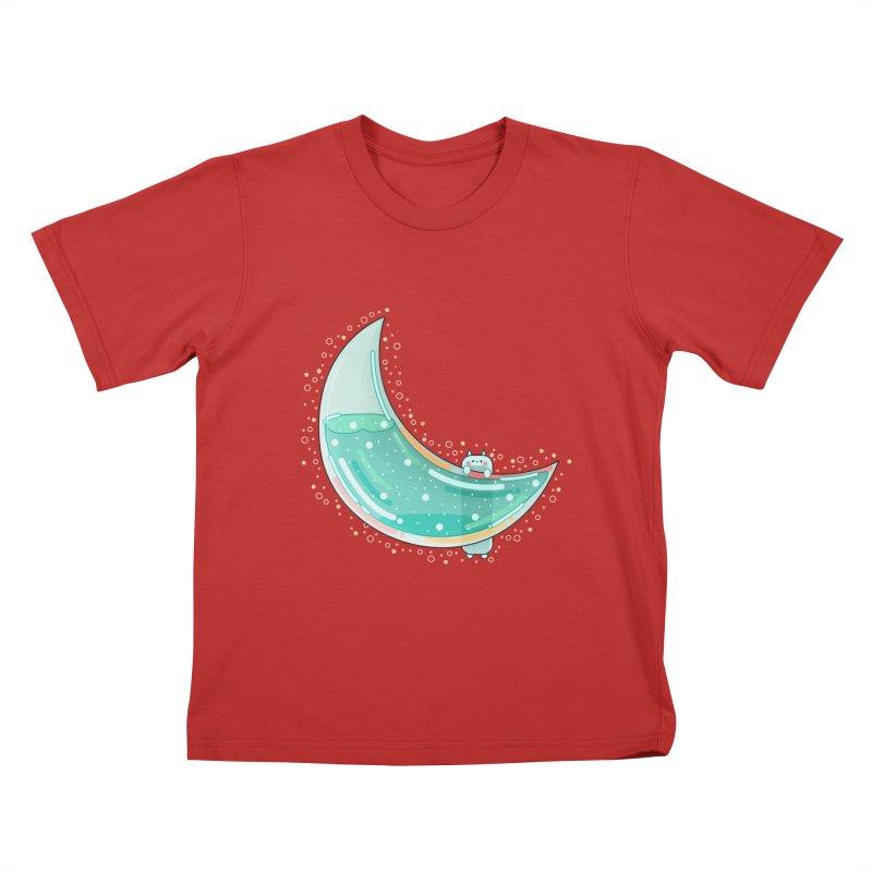 Cat Moon Kids T-Shirt by theladyernestember's Artist Shop
