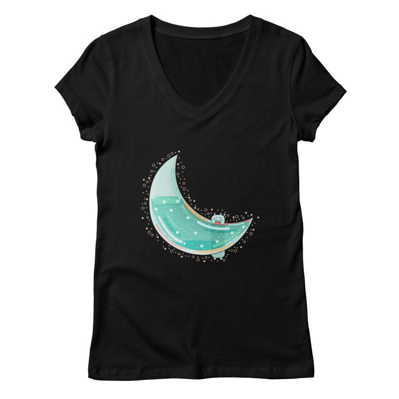 Cat Moon Women's V-Neck by theladyernestember's Artist Shop