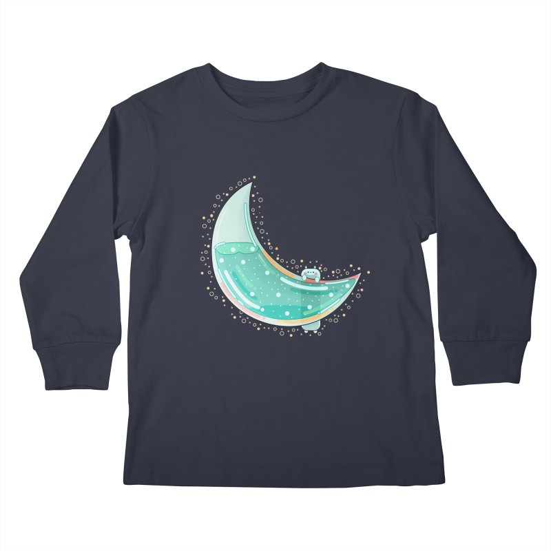 Cat Moon Kids Longsleeve T-Shirt by the lady ernest ember's Artist Shop