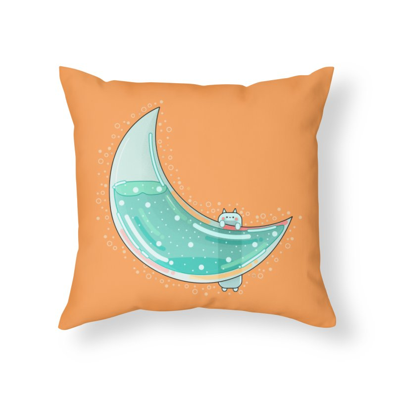 Cat Moon Home Throw Pillow by the lady ernest ember's Artist Shop