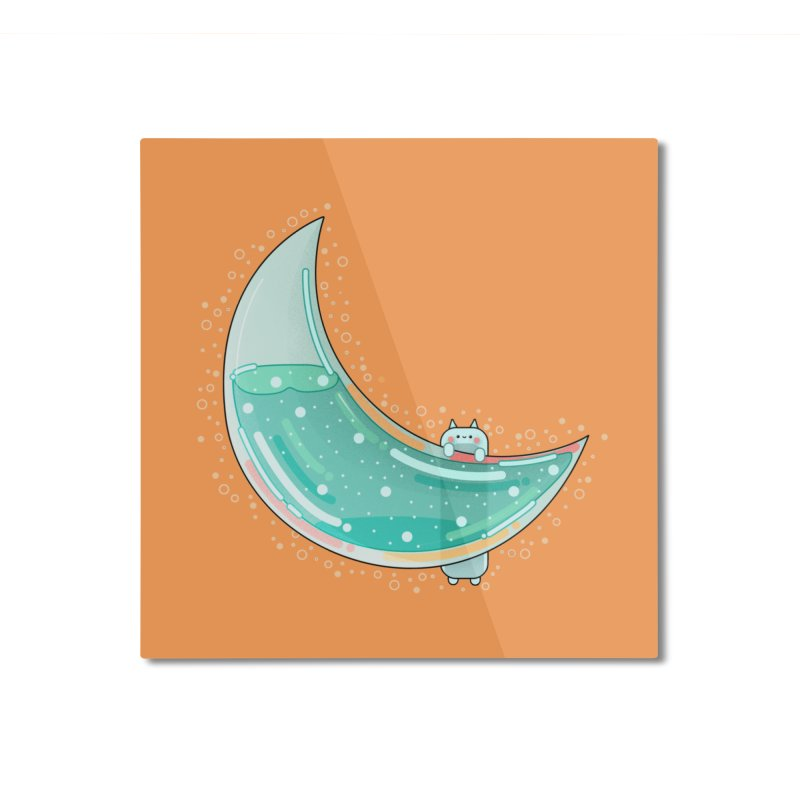 Cat Moon Home Mounted Aluminum Print by theladyernestember's Artist Shop