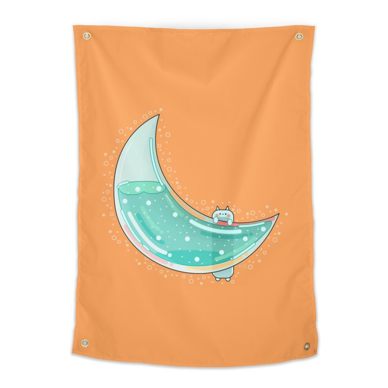 Cat Moon Home Tapestry by the lady ernest ember's Artist Shop