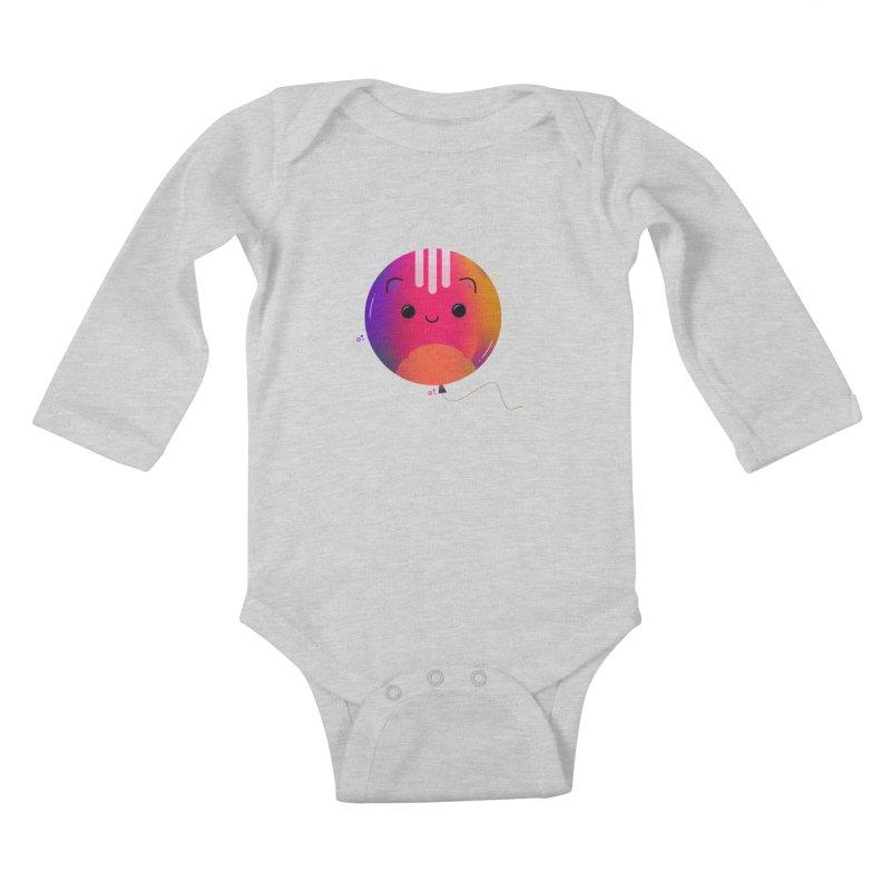 Cat Balloon Kids Baby Longsleeve Bodysuit by the lady ernest ember's Artist Shop
