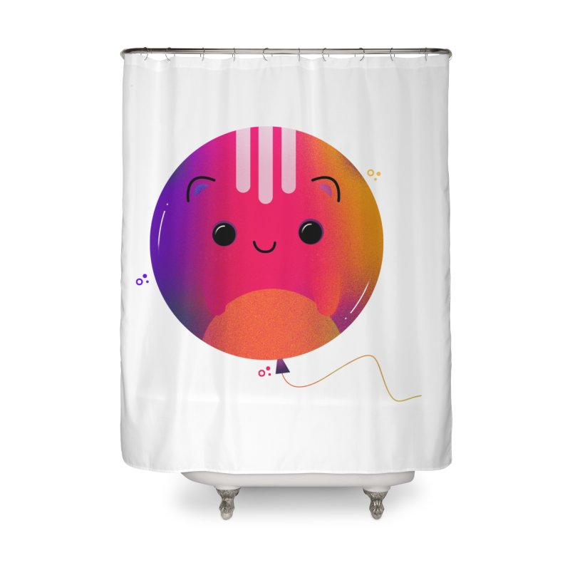 Cat Balloon Home Shower Curtain by the lady ernest ember's Artist Shop